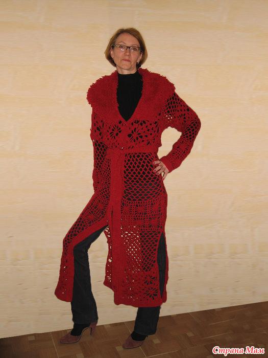 пальто вязаное крючком весна лето россия ярмарка см страна мам