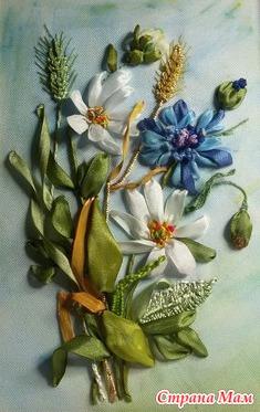 Вышивка лентами. Картина «Полевые цветы». Часть 1 56