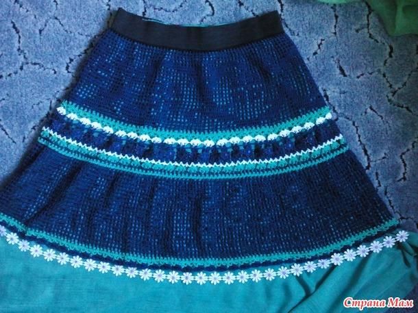. Вяжем юбки, комбинированные кружевом и тесьмой
