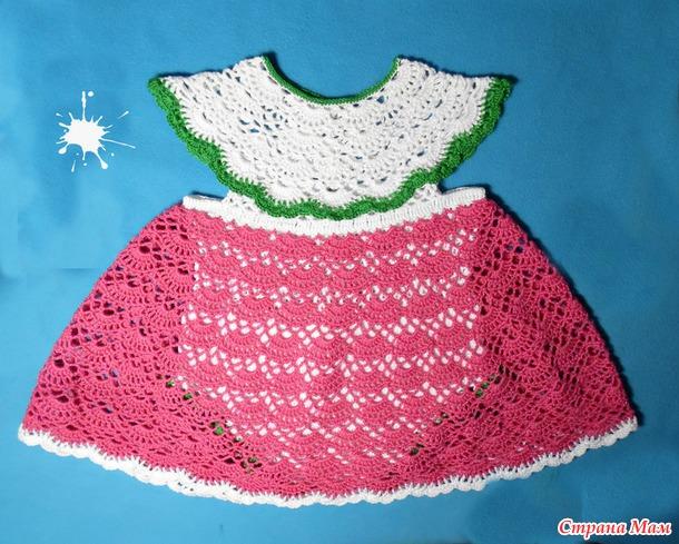 Вяжем комплект: платье -боди, пинетки и повязка ( Мои Сказки)