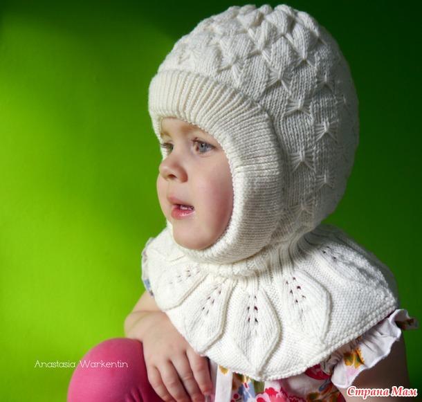 Шапка-шлем для девочки узором «Бабочки» + описание