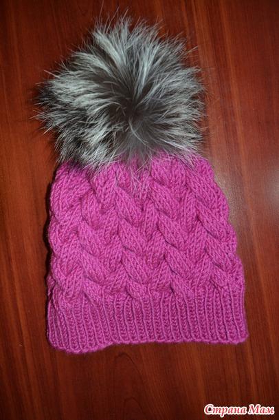 шапка косами с меховым помпоном вгу вязаные головные уборы