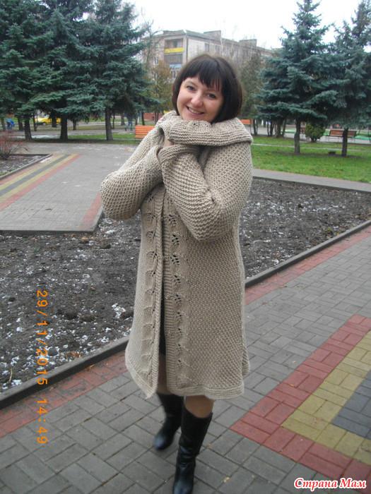 кардиган пальто спицами реглан вязание страна мам