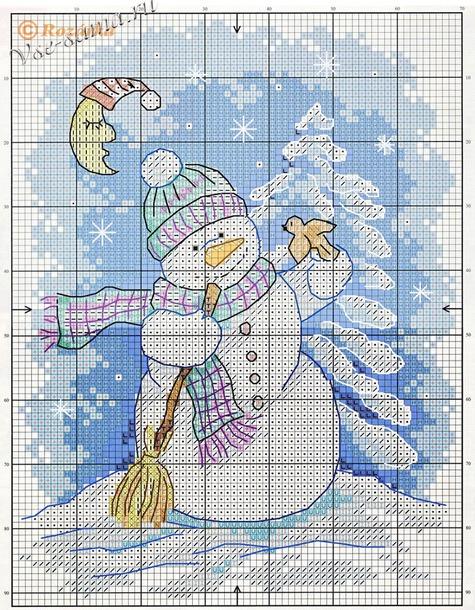 Новогодняя вышивка. Снеговики.