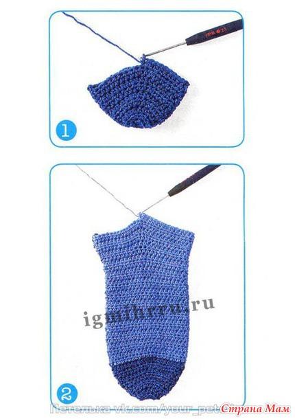 Вязание носка крючком от мыска