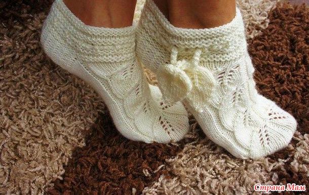 ажурные носочки узором листики дополнила страна мам