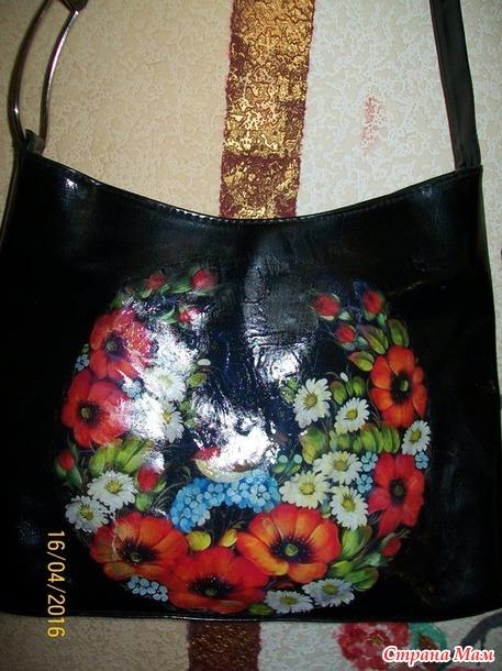 Купила дешевую сумку и сделала с нее... жостовскую роспись