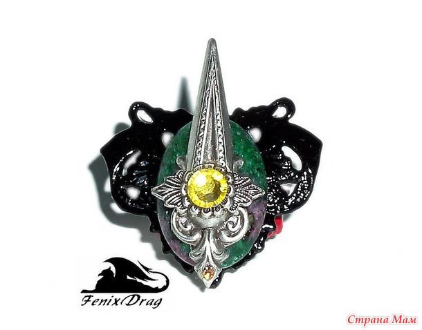 """Черный кулон и кольцо """"Рыцарь Средневековья"""" крылья ангела в виде сердца с рубин цоизитом в Стимпанк, Готика стилях"""