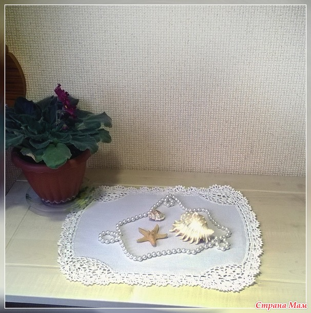 Льняная салфетка в винтажном стиле. Украина