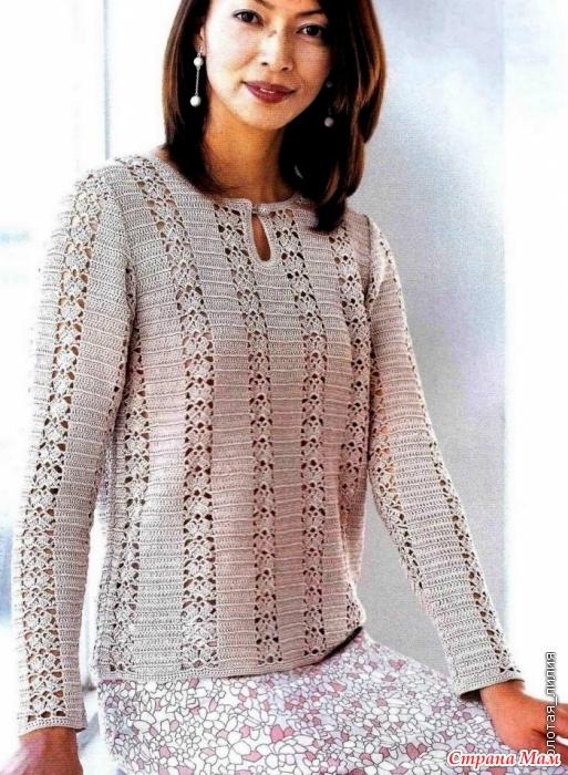 фото пуловер крючком