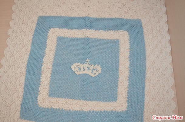 Плед для новорожденного. Ракушки, бабушкин квадрат и аппликация корона. Схемы прилагаются.