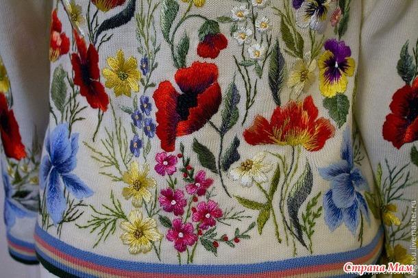 Вышивка на вязанном