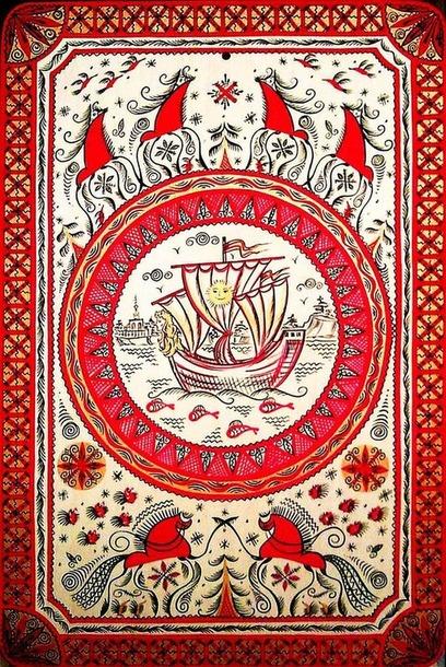 Мезенский конь и роспись в вышивке.