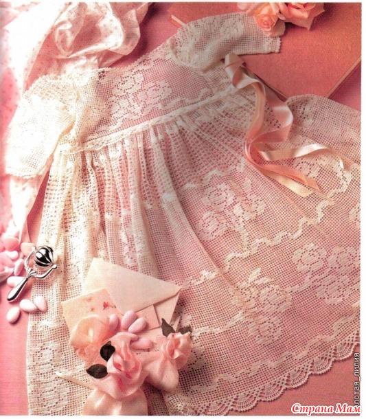 """Крестильное платье """"Розовый сад"""". Авторская работа. Фото, описания, схемы."""
