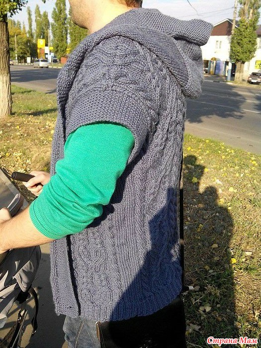 мужской жилет с капюшоном вязание страна мам