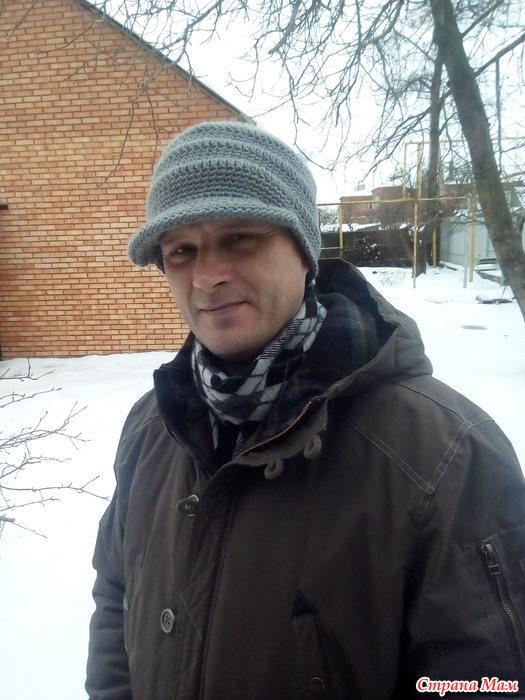 мужская шапка с козырьком крючком вязание страна мам