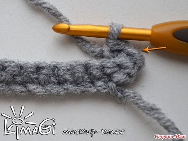 МК Диагональная резинка крючком, в том числе для отворота и валика