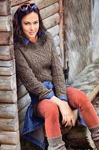 Вязание спицы ажурная кофточка женщины 426