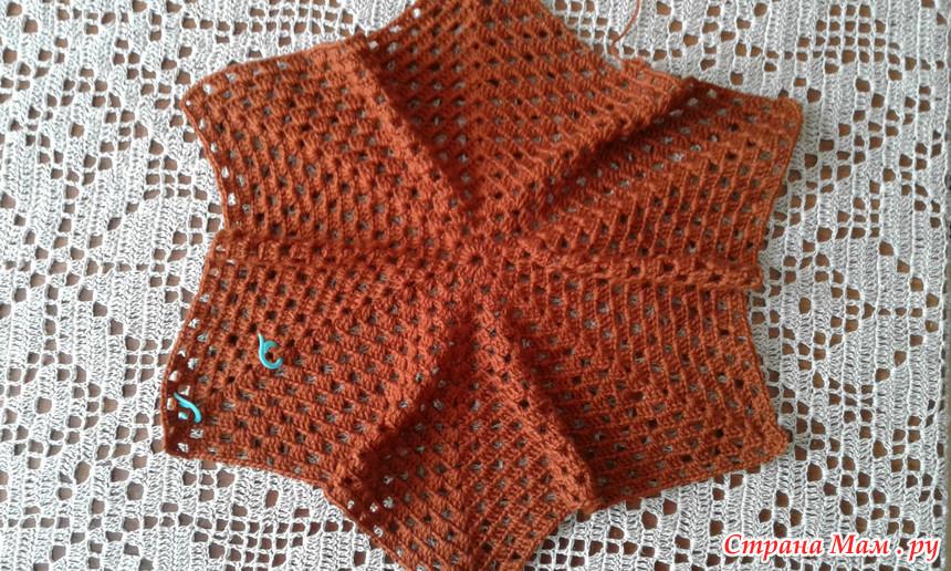 жакет кардиган из шестиугольника процесс вязания готовая работа