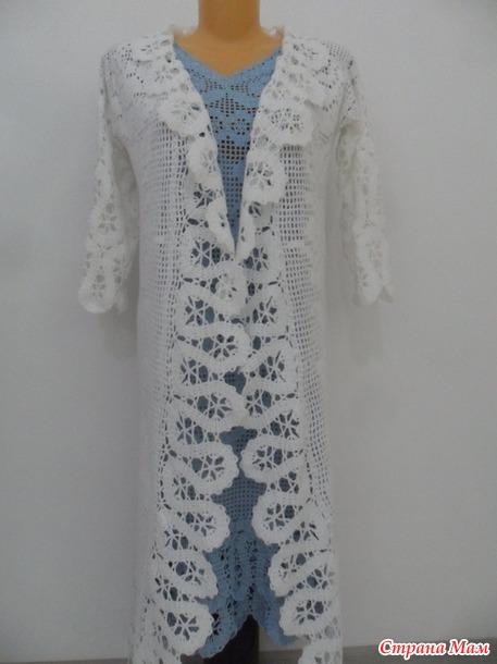 Летнее пальто или шазюбль, филейное вязание+брюгге (добавила фото )