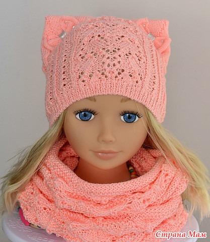 шапка с ушками для девочки на весну вязание для детей страна мам