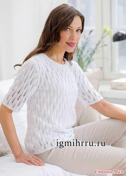 Летний белый пуловер