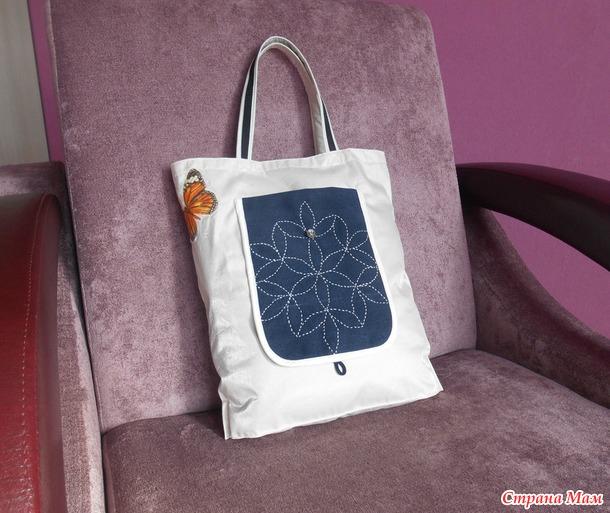 """Вышивка""""Сашико """" на сумке и косметичке."""