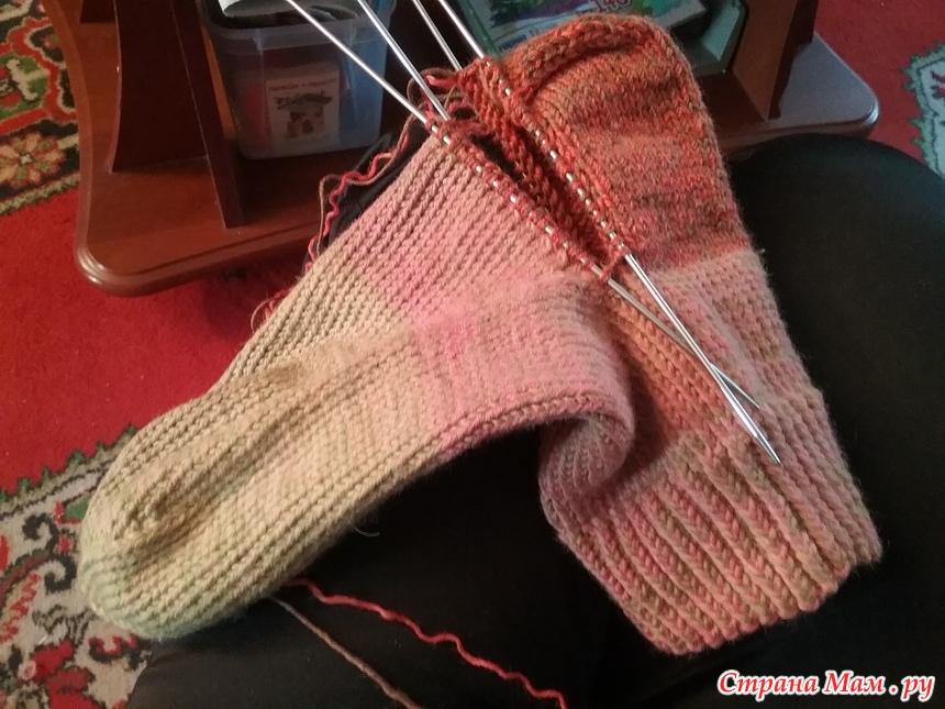 починка пятки вязанного носка страна мам