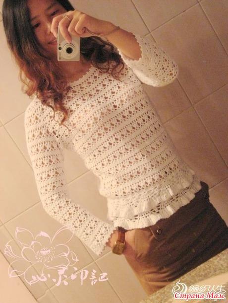 . Ажурный хлопковый пуловер крючком