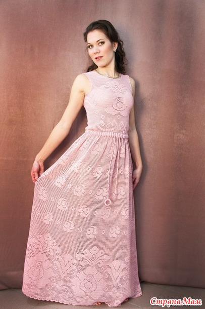 Филейное длинное платье с розами - Вяжем вместе он-лайн - Страна Мам 92a4f9b018a43