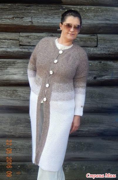 пальто градиент крючком и первая филейка вязание страна мам