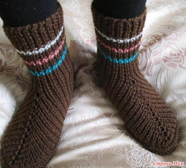 Оригинальные носочки на двух спицах (НАХОДКА)