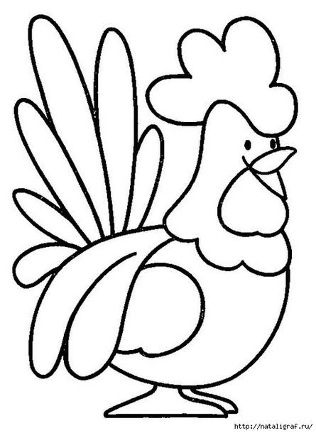 Символ 2017 года. Петушок. Трафареты на окна.