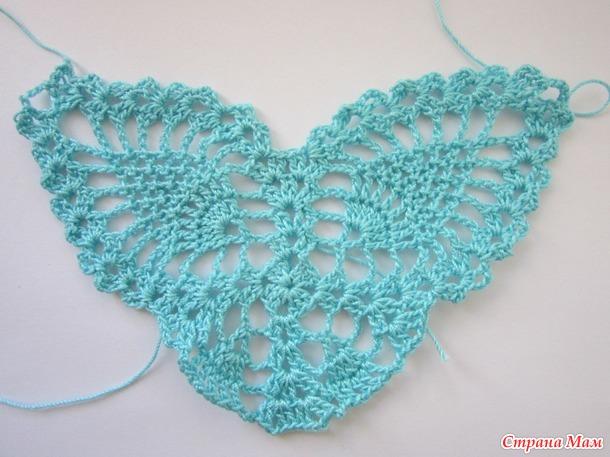 Он-лайн вязание салфетки с бабочками