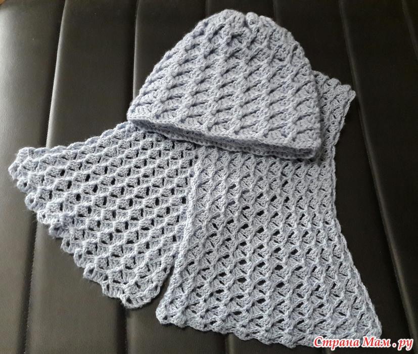 шапка весенняя и шарф крючком по мк ангелины озимок вязание