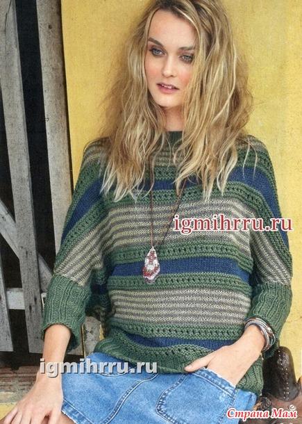 повседневный пуловер с горизонтальными полосками вязание спицами