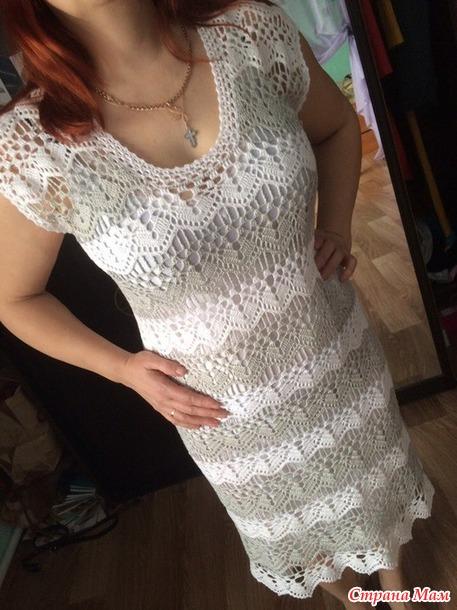 бело-серое платье