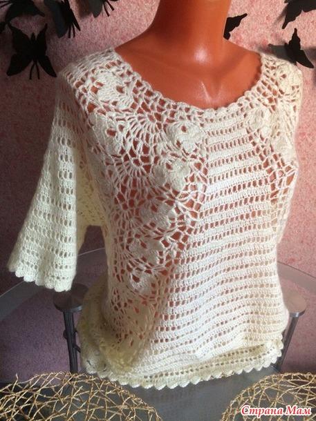 Пуловер крючком из мохера, Ванильный десерт.