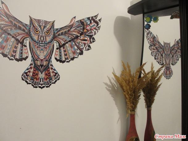Интерьерная наклейка Сова и зеркальная плитка на стену: видео-обзор+