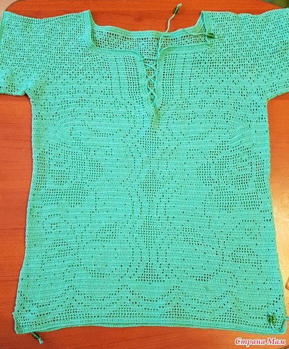 бирюзовый пуловер для марины филейка крючком вязание страна мам