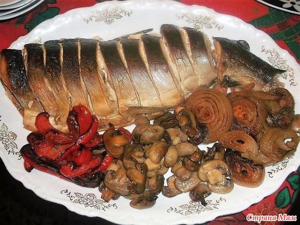 Горбуша запеченная и овощи гриль