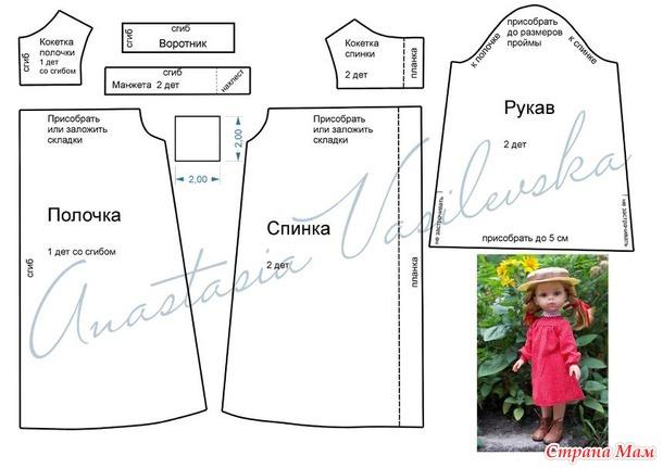 Выкройка платья в горошек для Paola Reina