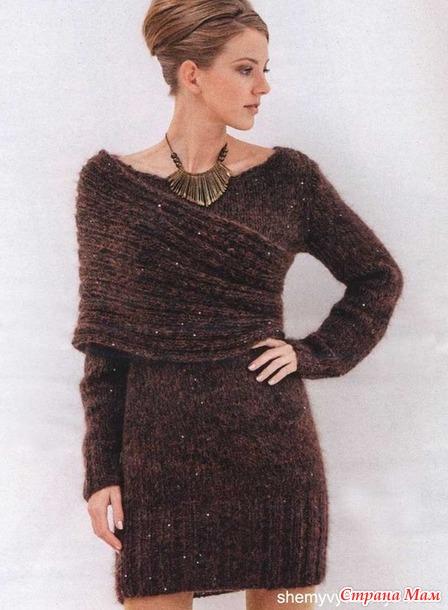 Еще немного теплых платьев (спицы)