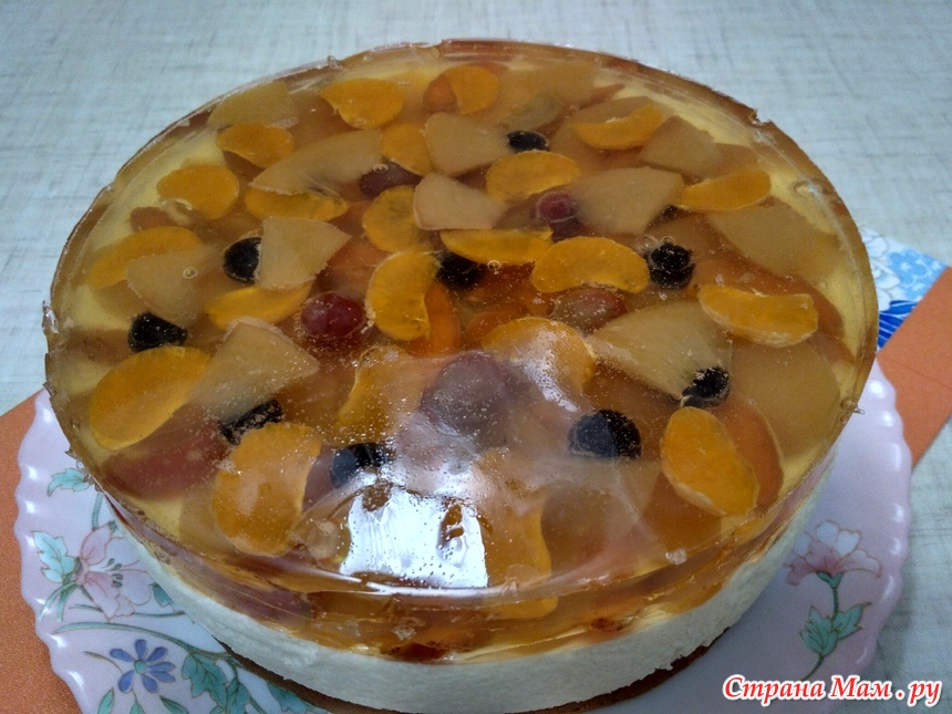 Торт сова с желе и фруктами фото