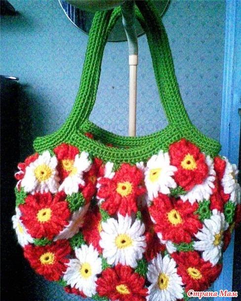 """Вяжем вместе сумку """"Цветочная поляна""""."""