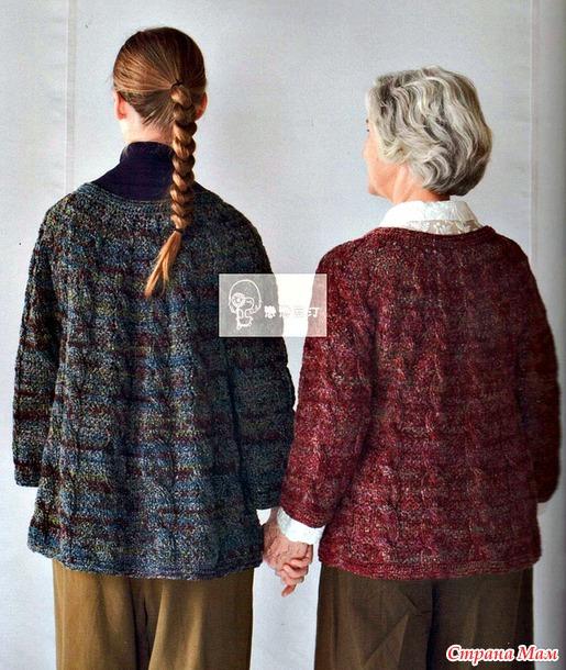Жакет с плотным рельефным узором косы (два цвета). Крючок