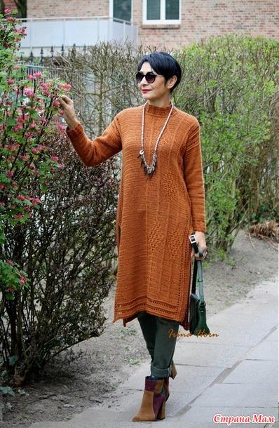 теплое платье цвета корицы крючок вязание страна мам