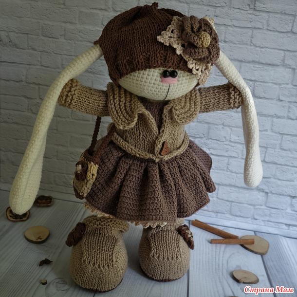 вязаная зайка кофейная девочка амигуруми страна мам