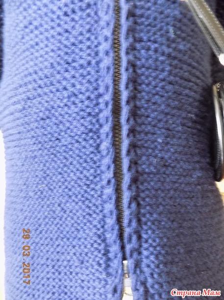 Синее пальто спицами  без швов. Дополнила.