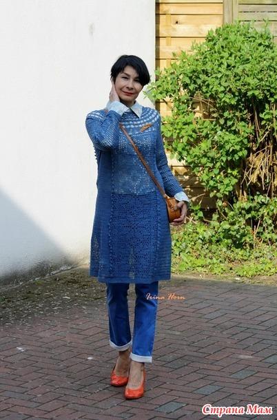 Голубое платье в филейной технике для сестры - Вязание - Страна Мам 3173868f22fef